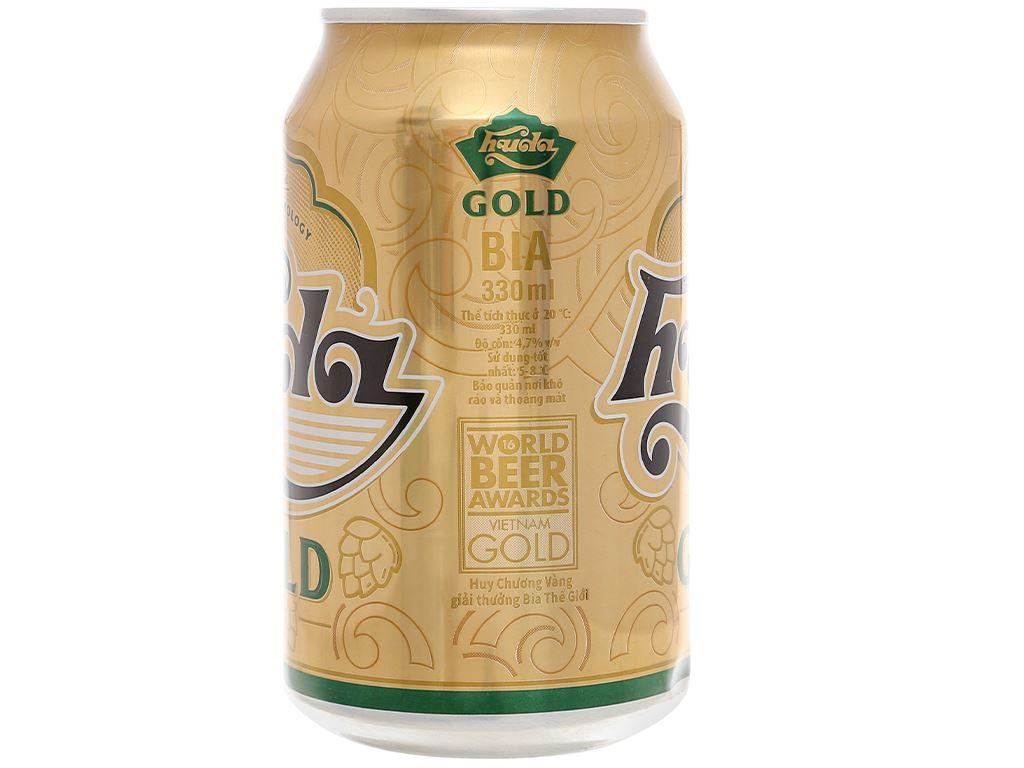 6 lon bia Huda Gold 330ml 3