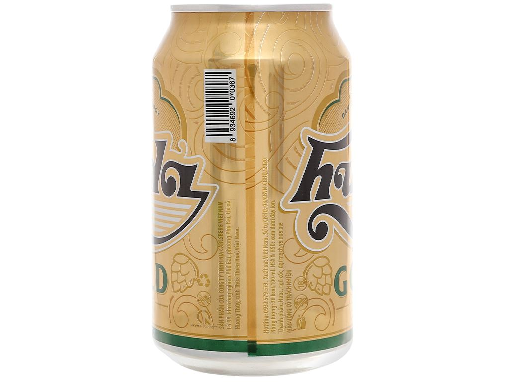 6 lon bia Huda Gold 330ml 4