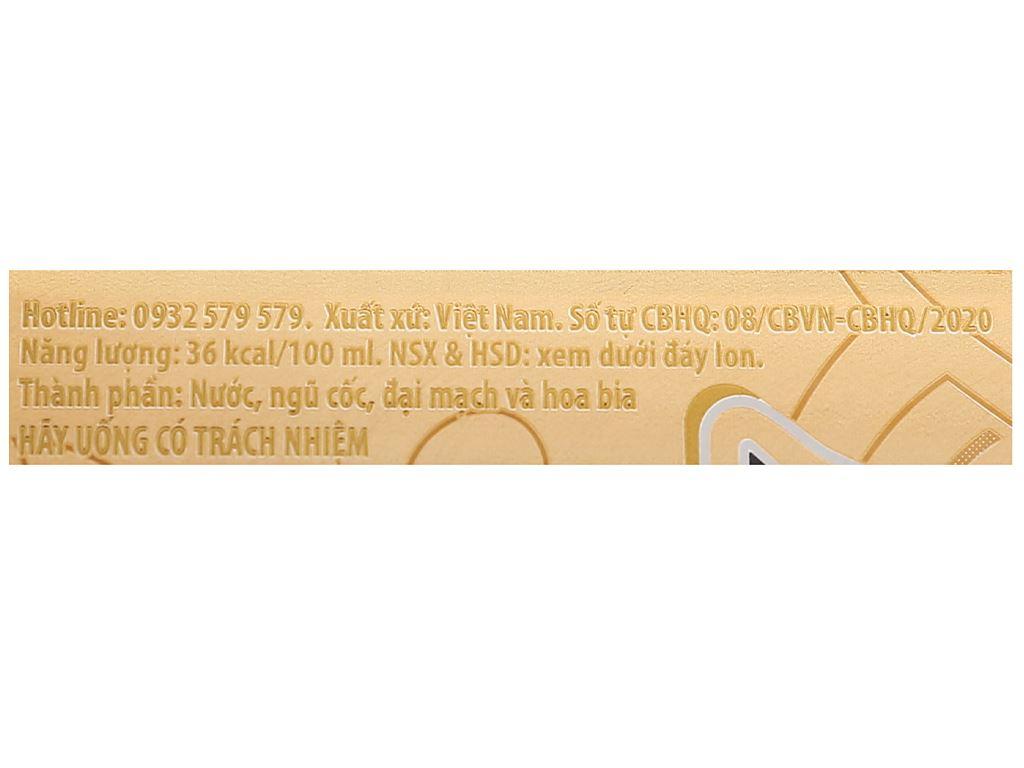 6 lon bia Huda Gold 330ml 5