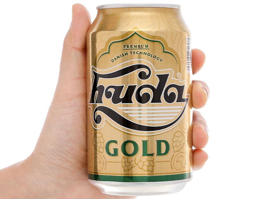6 lon bia Huda Gold 330ml 6
