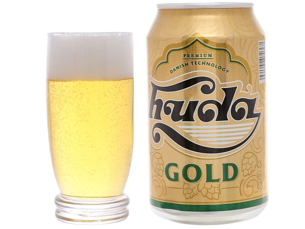 6 lon bia Huda Gold 330ml 7