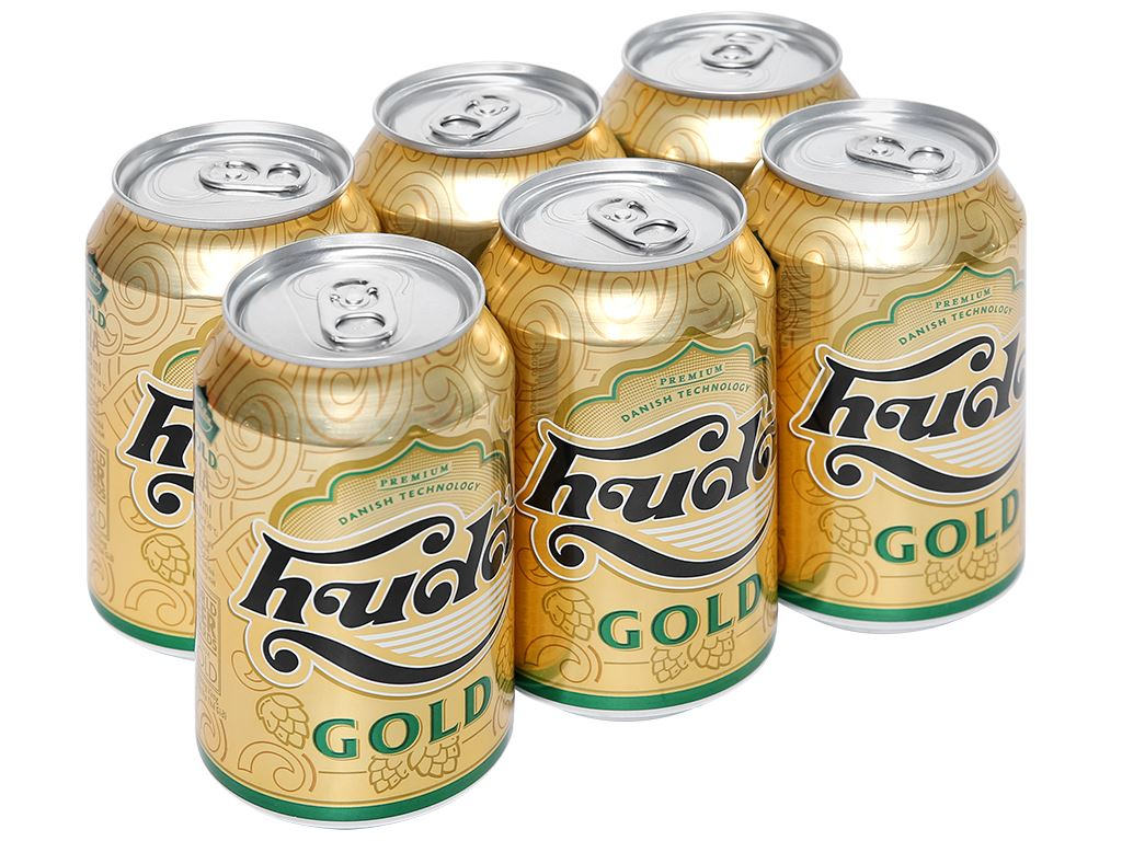 6 lon bia Huda Gold 330ml 1