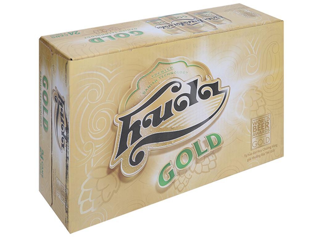 Thùng 24 lon bia Huda Gold 330ml 1