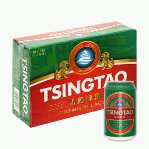 Thùng 24 lon bia Tsingtao Lager lon 330ml