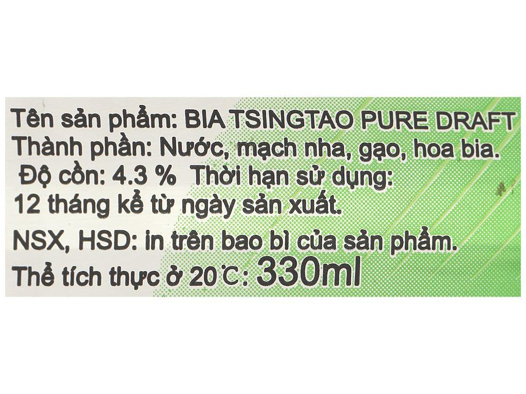Thùng 24 lon bia Tsingtao Pure Draft lon 330ml 4
