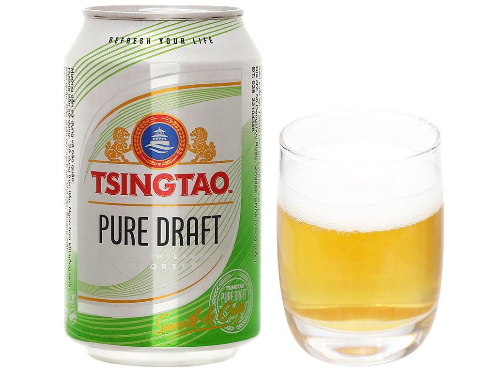 Thùng 24 lon bia Tsingtao Pure Draft lon 330ml 7