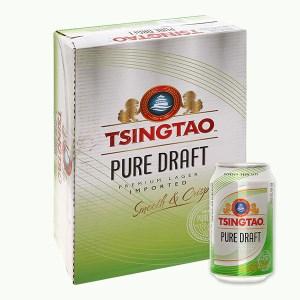 Thùng 24 lon bia Tsingtao Pure Draft lon 330ml
