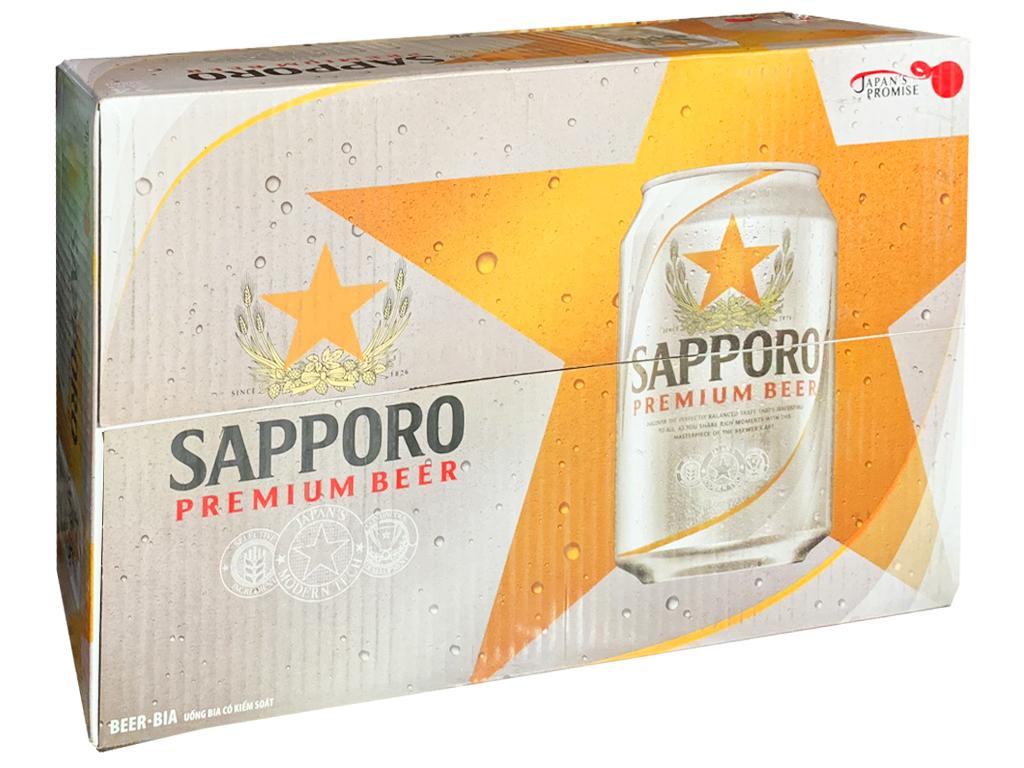 Thùng 24 lon bia Sapporo 330ml 1