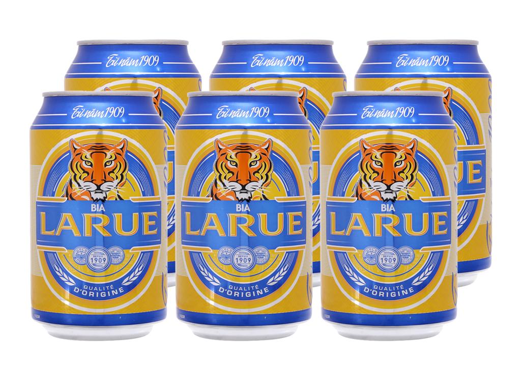6 lon bia Larue Xanh 330ml 2