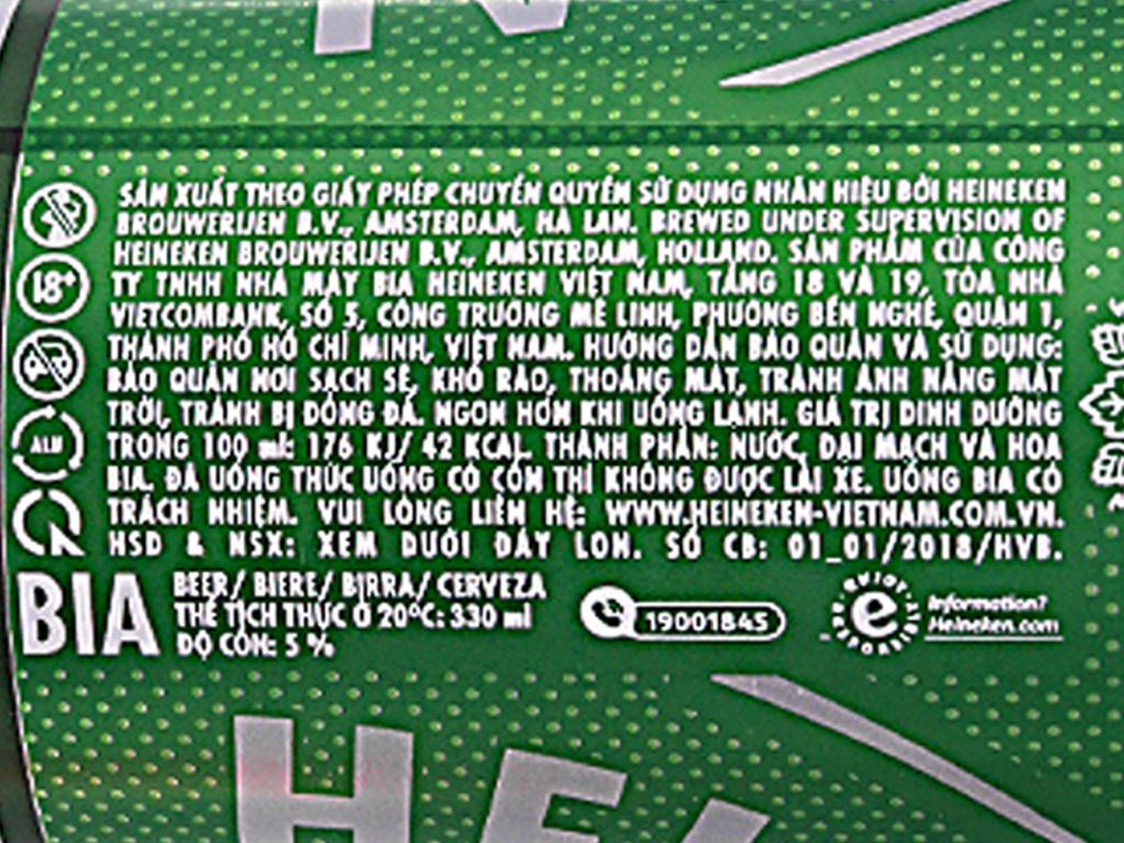 6 lon bia Heineken 330ml 4