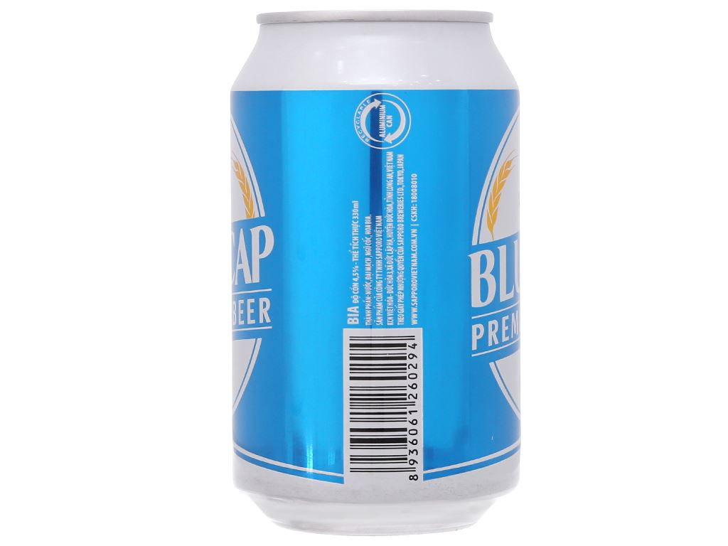 6 lon Bia Sapporo Blue Cap 330ml 4