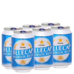 6 lon Bia Sapporo Blue Cap 330ml