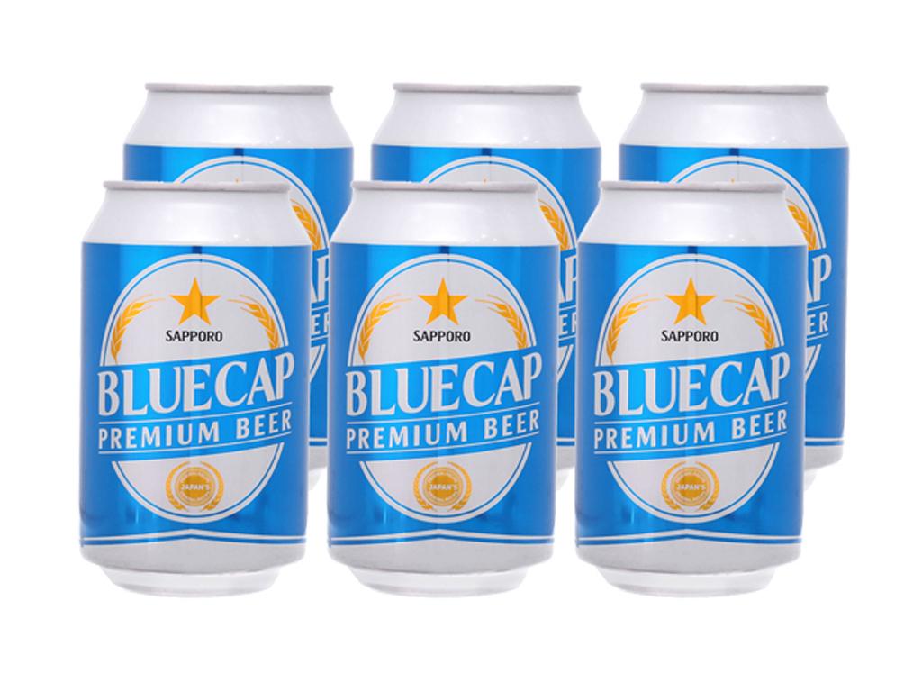 6 lon bia Sapporo Blue Cap 330ml 1