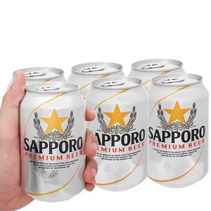 6 lon bia Sapporo 330ml