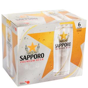 Lốc 6 lon bia Sapporo 650ml
