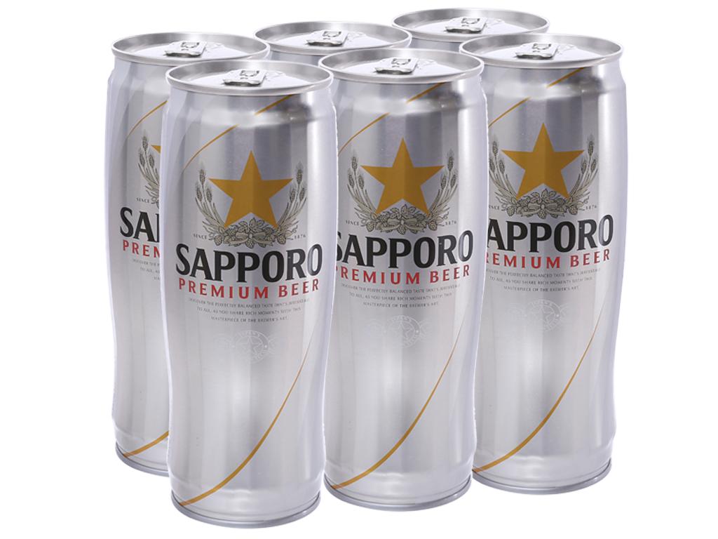 Lốc 6 lon bia Sapporo 650ml 1