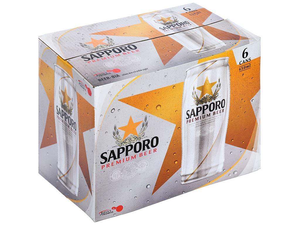 6 lon bia Sapporo 650ml 1