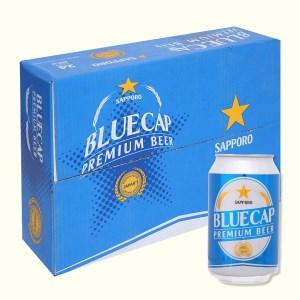 Thùng 24 lon bia Sapporo Blue Cap 330ml