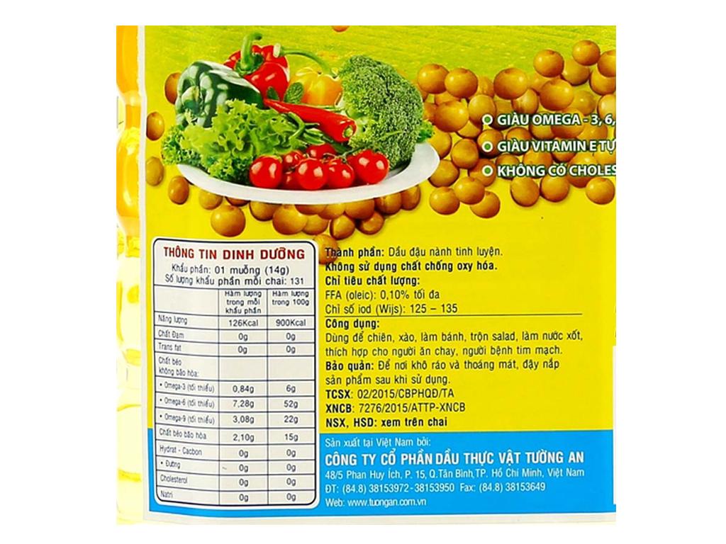 Dầu đậu nành nguyên chất 100% Tường An bình 2 lít 3