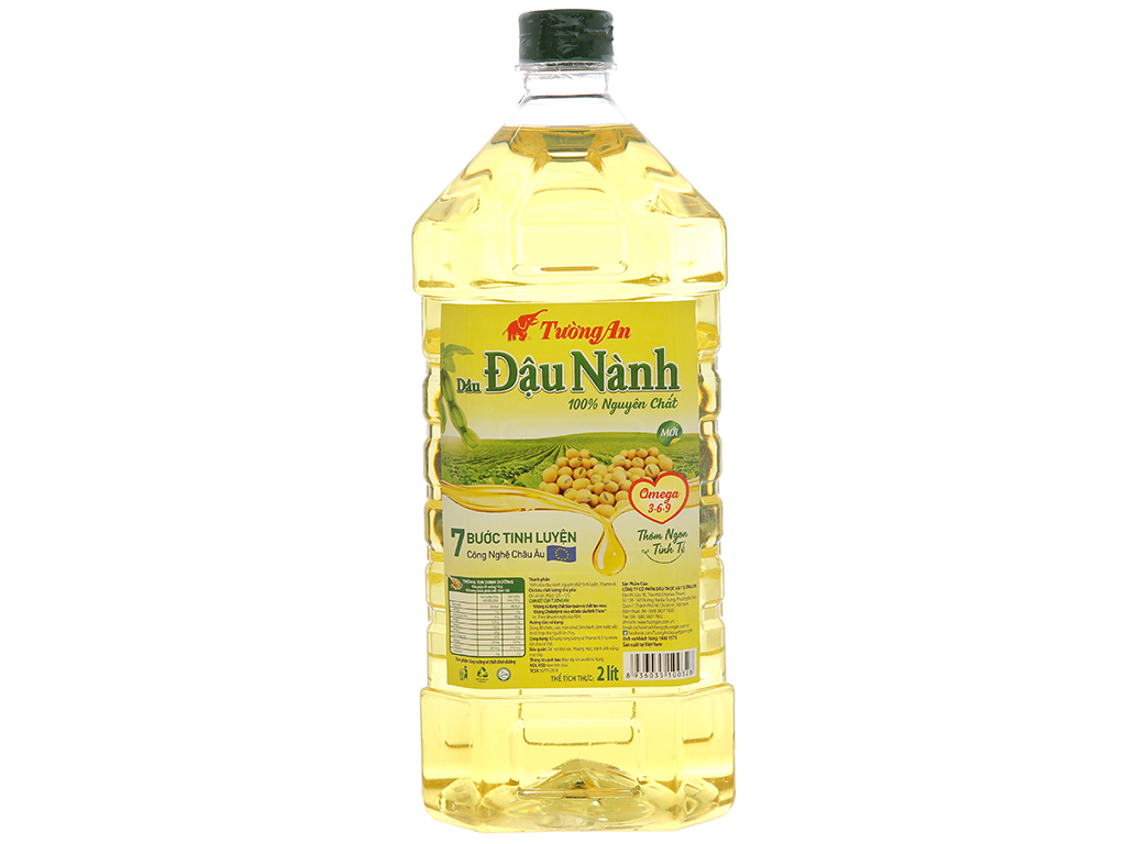 Dầu đậu nành Tường An nguyên chất 100% chai 2 lít 1