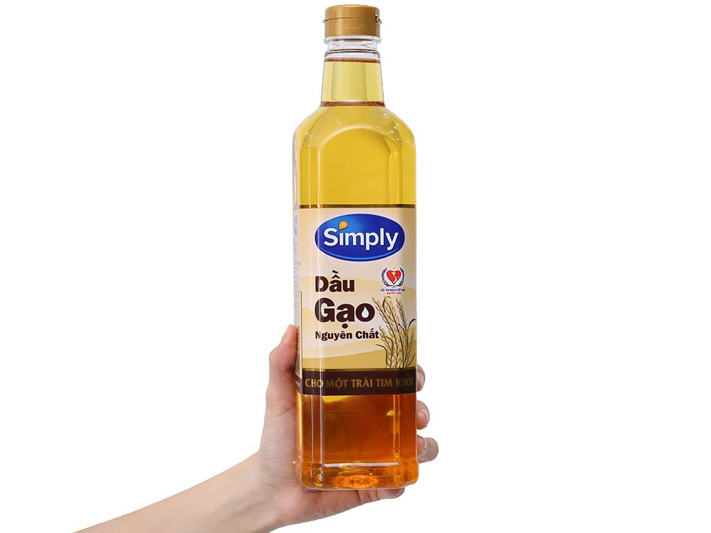 Dầu gạo nguyên chất Simply chai 1 lít 3