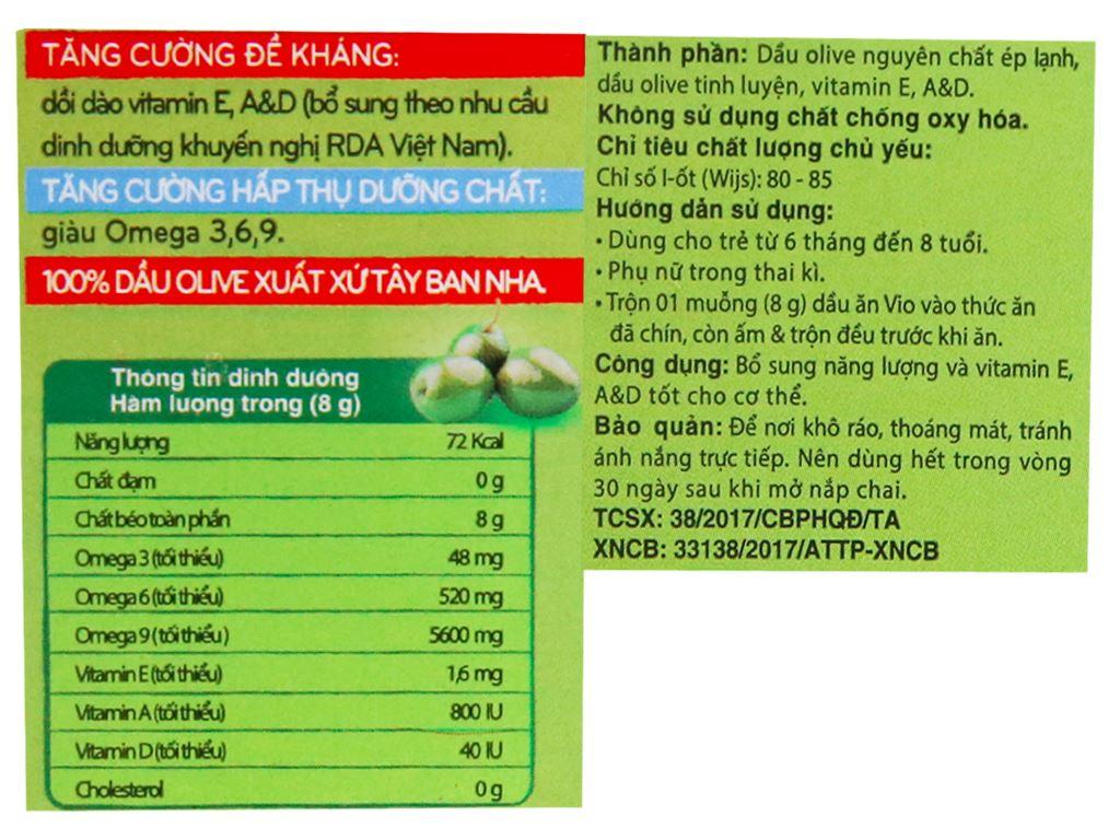 Dầu olive cho bé Tường An Vio Extra chai 250ml 6