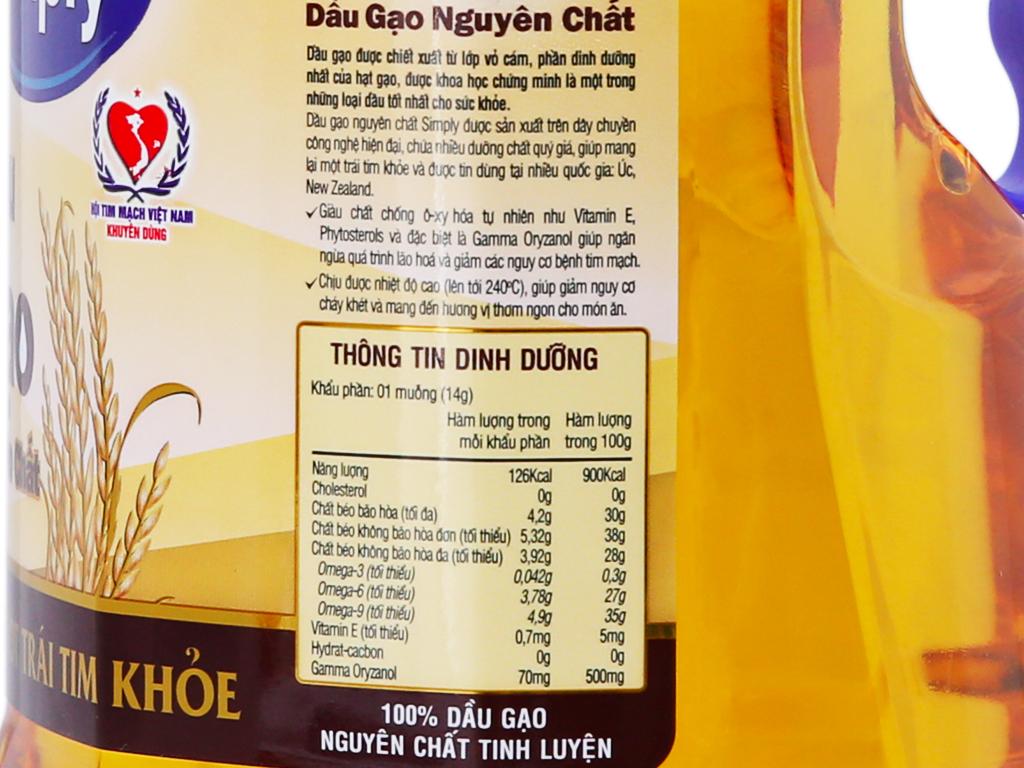 Dầu gạo nguyên chất Simply chai 2 lít 3