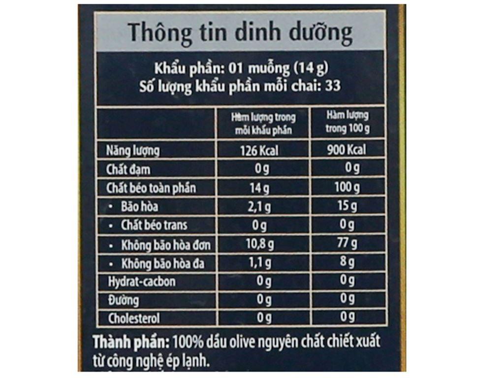 Dầu olive Extra Virgin Tường An chai 500ml 7
