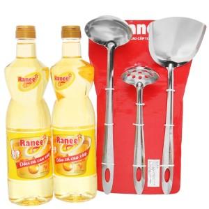 Combo 2 chai dầu cá cao cấp Ranee 950ml (tặng bộ 3 vá sạn siêu đầu bếp)