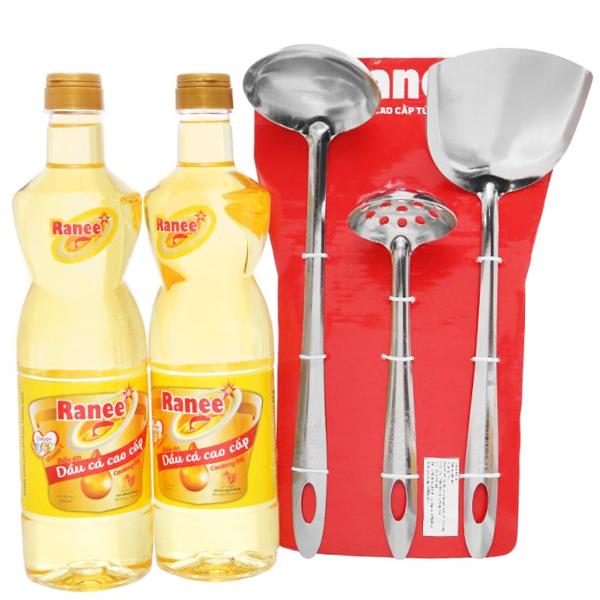 Combo 2 chai dầu cá cao cấp Ranee 950ml (tặng bộ 3 vá sạn siêu đầu bếp) 1