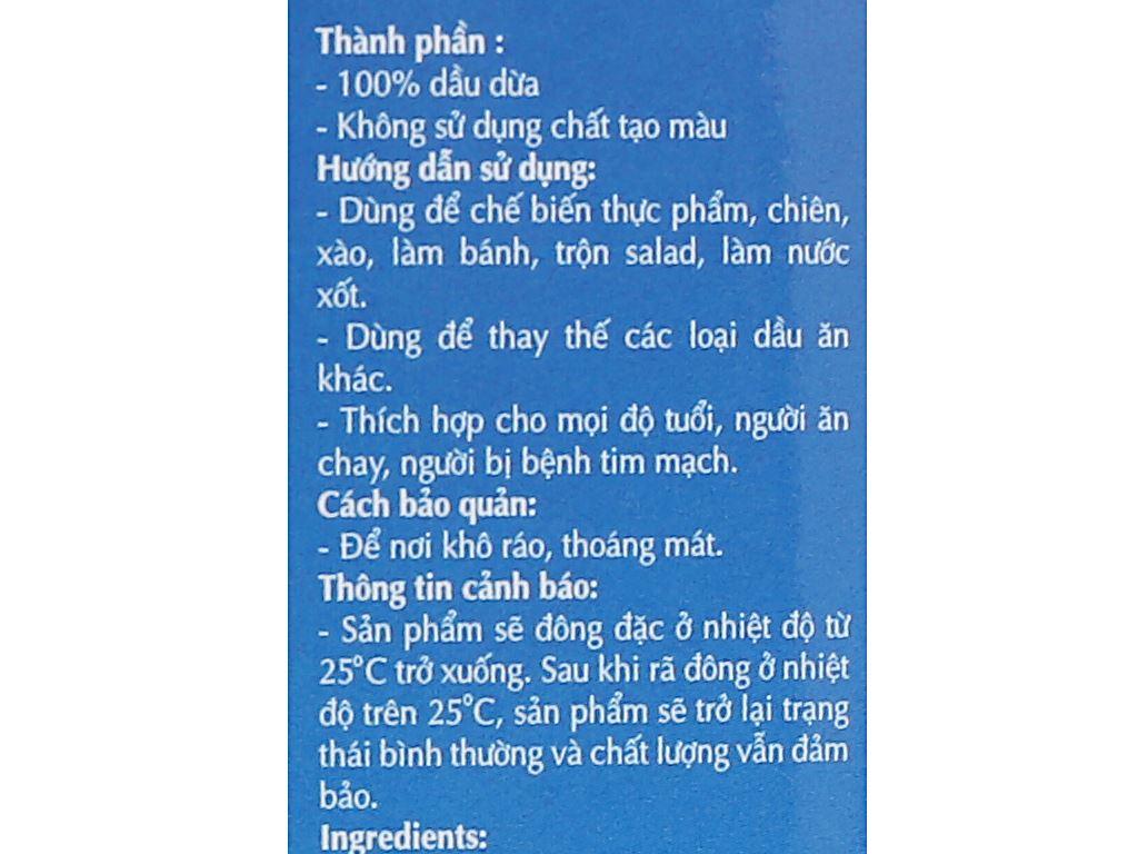 Dầu dừa tinh luyện Vietcoco chai 500ml 4