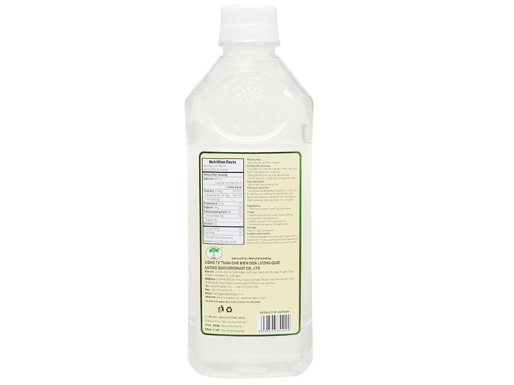 Dầu dừa nguyên chất Organic Vietcoco chai 500ml 2