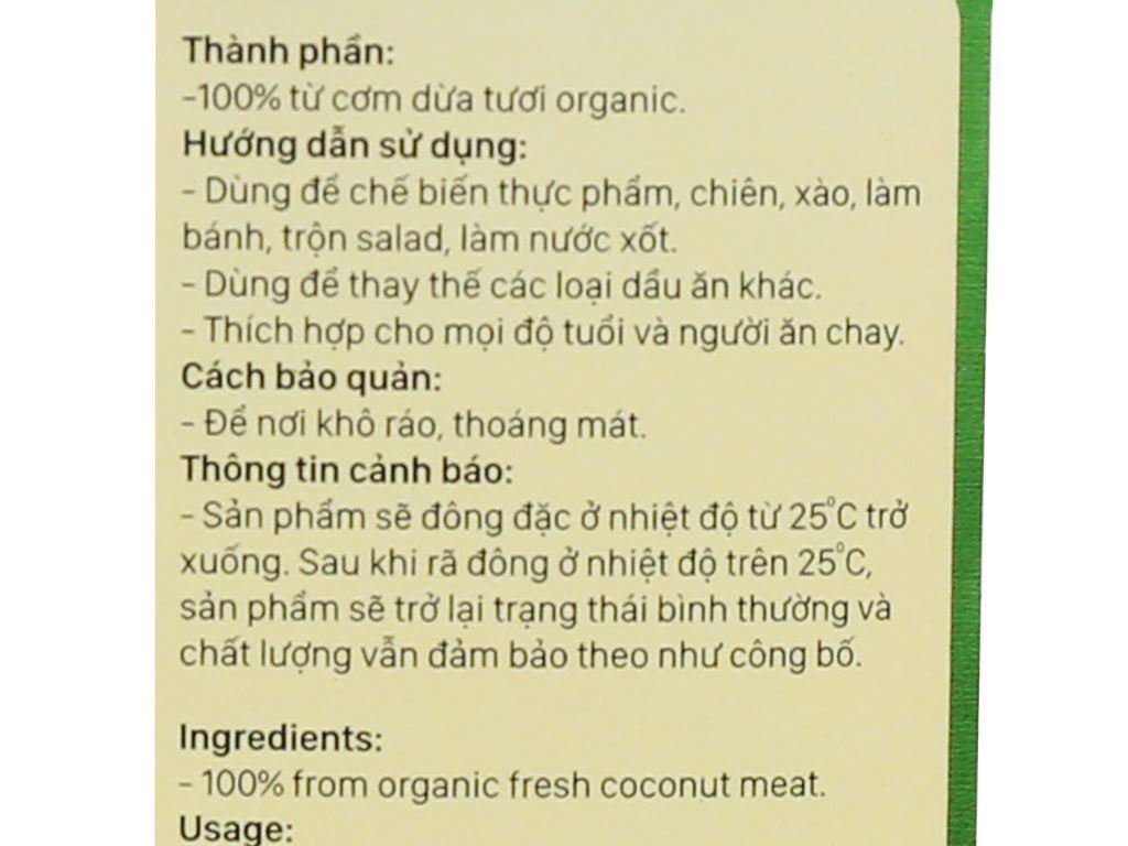 Dầu dừa nguyên chất Organic Vietcoco chai 500ml 4