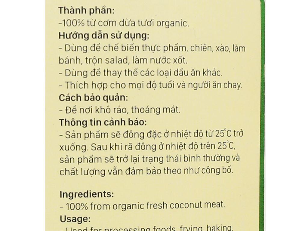 Dầu dừa nguyên chất Organic Vietcoco chai 1 lít 3