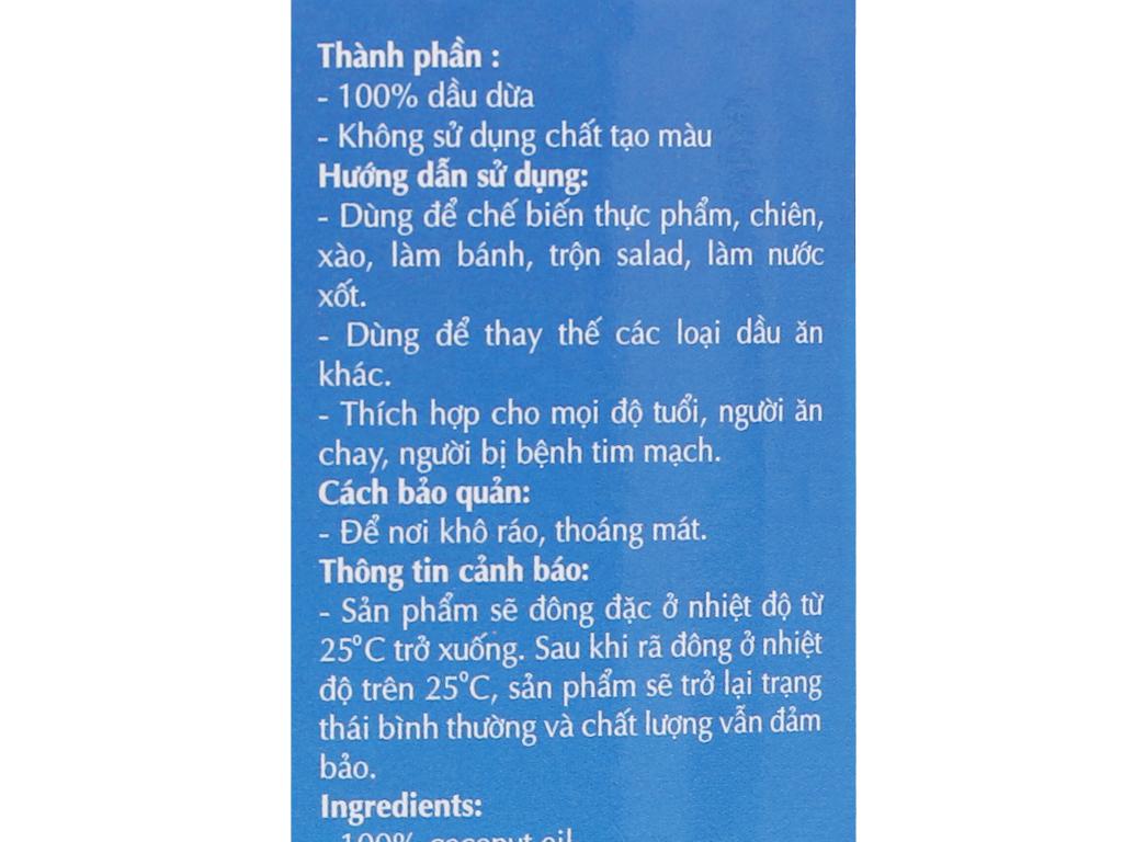 Dầu dừa tinh luyện Vietcoco chai 1 lít 5
