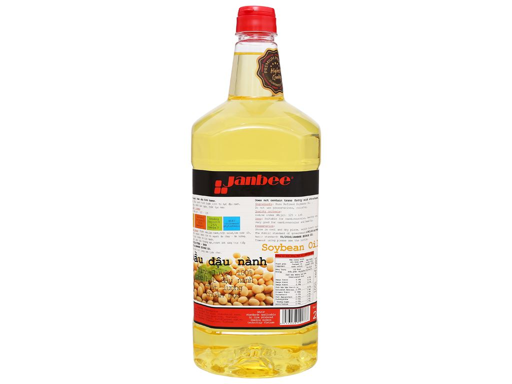 Dầu đậu nành tinh luyện Janbee bình 2 lít 2