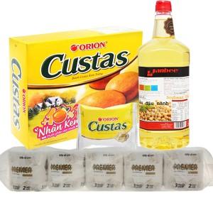 Combo dầu ăn, bánh bông lan và giấy vệ sinh