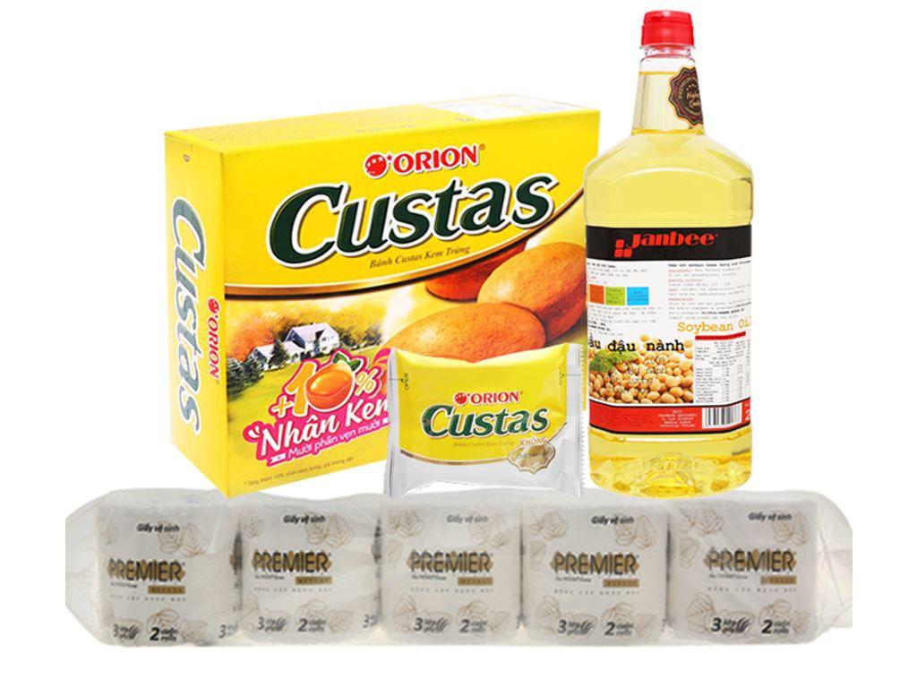 Combo dầu ăn, bánh bông lan và giấy vệ sinh 1