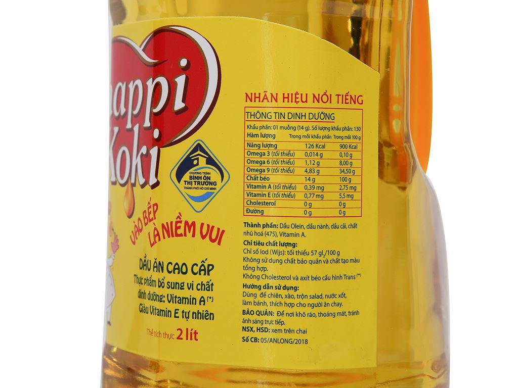 Dầu ăn cao cấp Happy Koki chai 2 lít 3