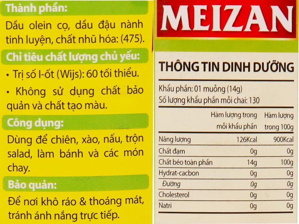 Dầu thực vật cao cấp Meizan chai 2 lít 2