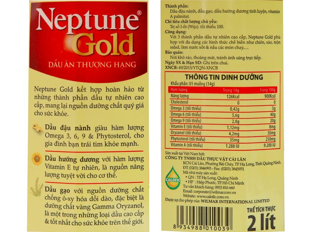 Dầu ăn cao cấp Neptune chai 2 lít 5