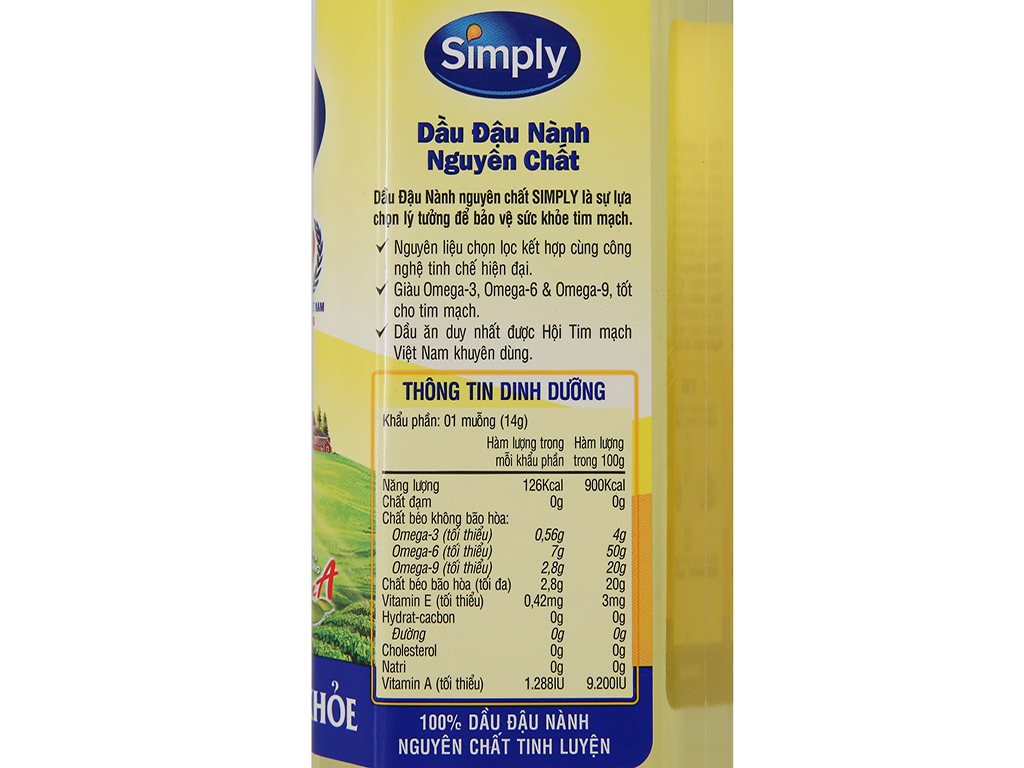 Dầu đậu nành nguyên chất Simply chai 1 lít 2