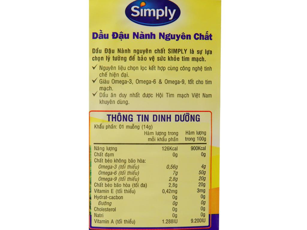 Dầu đậu nành nguyên chất Simply chai 2 lít 5