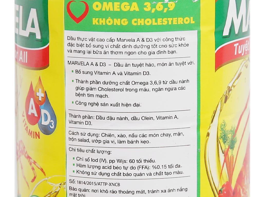Dầu ăn bổ sung vitamin A và D3 Marvela chai 1 lít 5