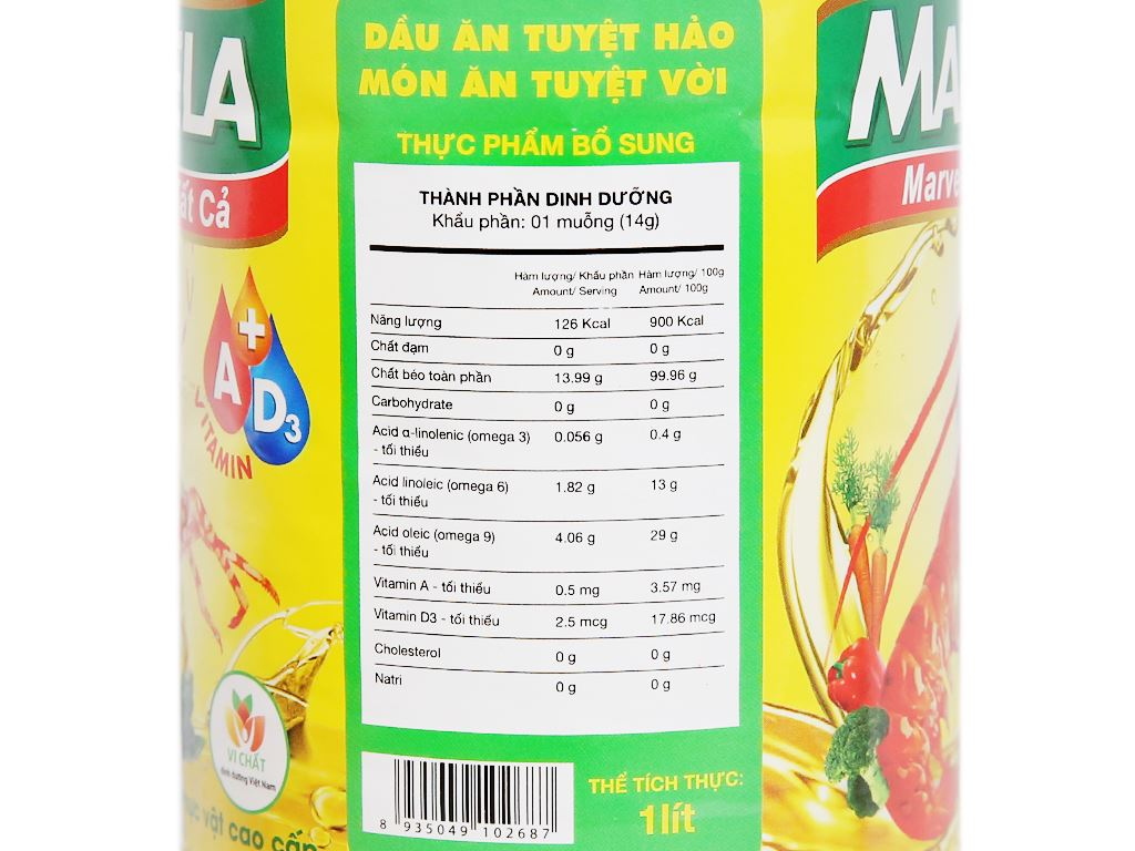 Dầu ăn bổ sung vitamin A và D3 Marvela chai 1 lít 6