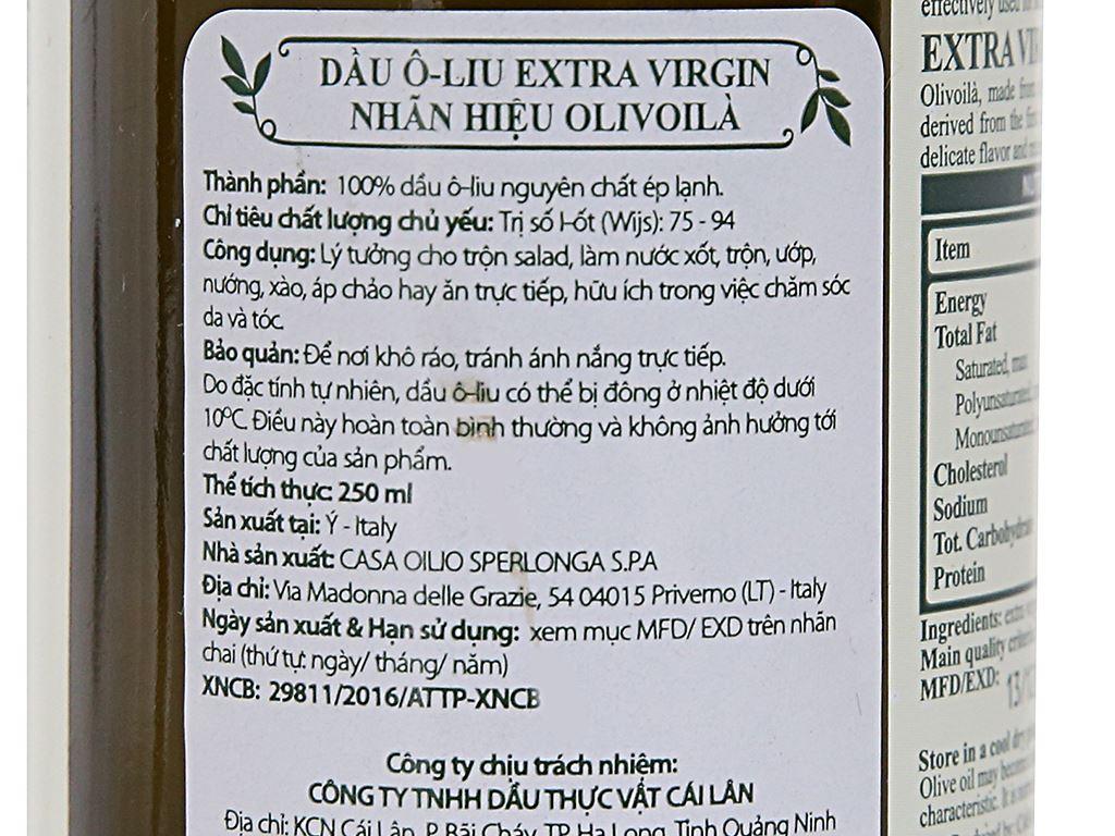 Dầu olive Extra Virgin Olivoilà chai 250ml 5