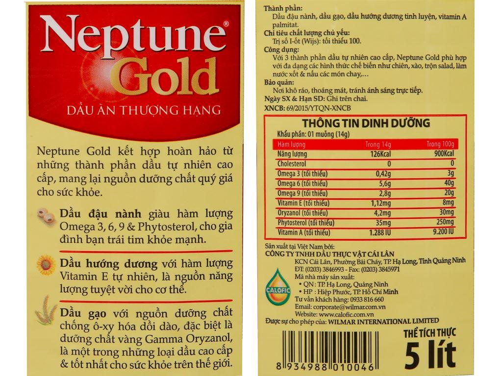 Dầu ăn cao cấp Neptune Gold bình 5 lít 5