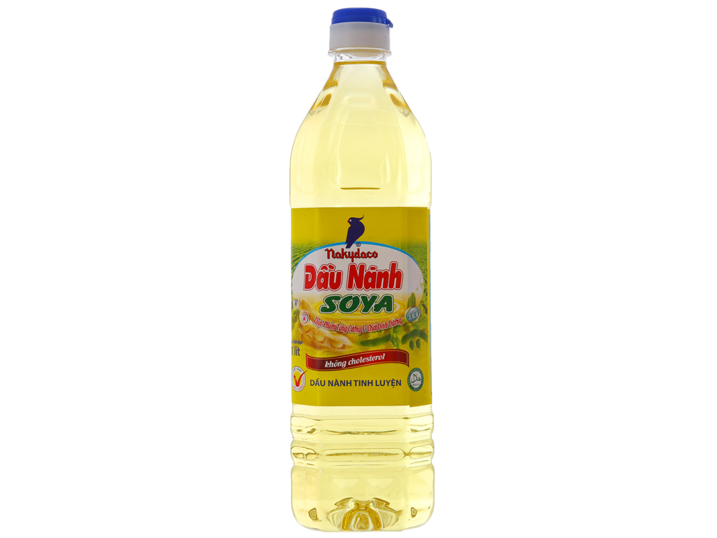 Dầu nành tinh luyện Nakydaco Soya chai 1 lít 1