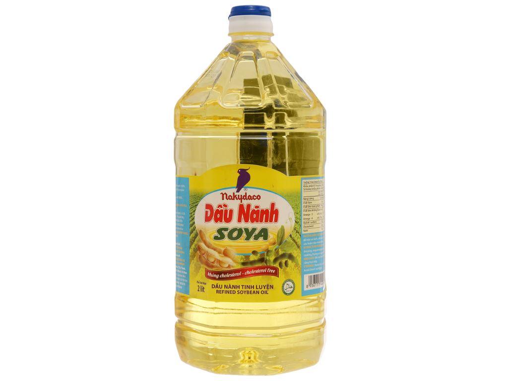 Dầu nành tinh luyện Nakydaco Soya chai 2 lít 1