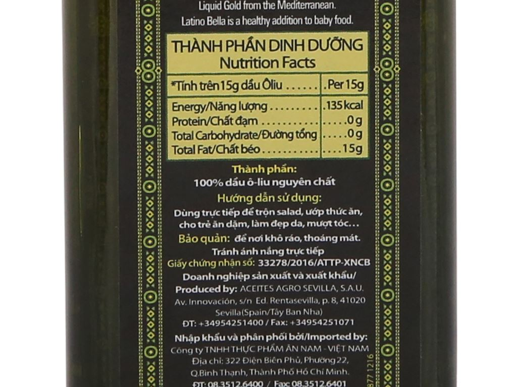 Dầu olive Extra Virgin Latino Bella chai 250ml 3